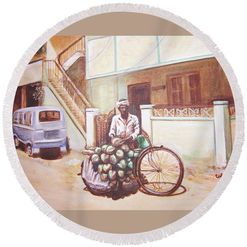 Usha Round Beach Towel featuring the painting The Indian Tendor-coconut Vendor by Usha Shantharam