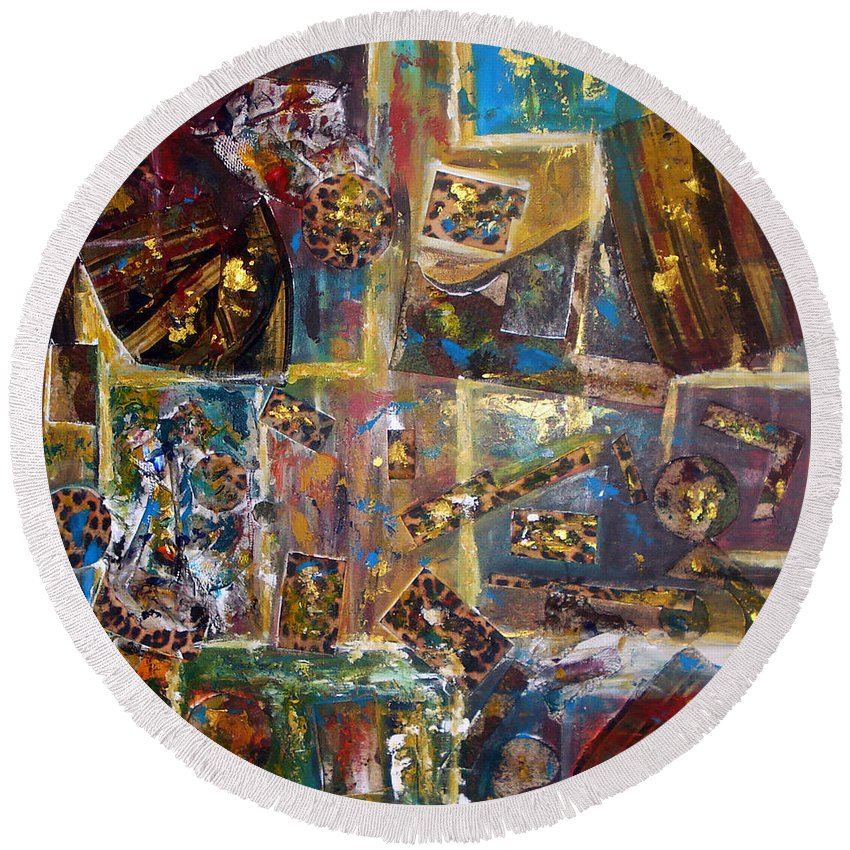 Collage Painting Round Beach Towel featuring the painting The Infinite Passion Of Life by Yael VanGruber