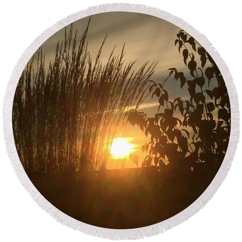 Sunset Round Beach Towel featuring the photograph The Intimancy Of My Presence by Jacque Lenew