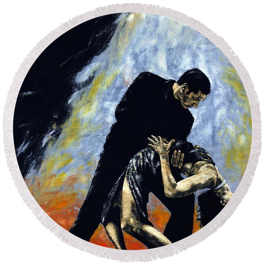 Tango Round Beach Towel featuring the painting The Intoxication Of Tango by Richard Young