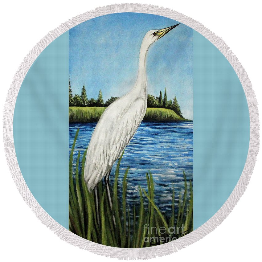 Landscape Round Beach Towel featuring the painting The Island's Egret by Elizabeth Robinette Tyndall