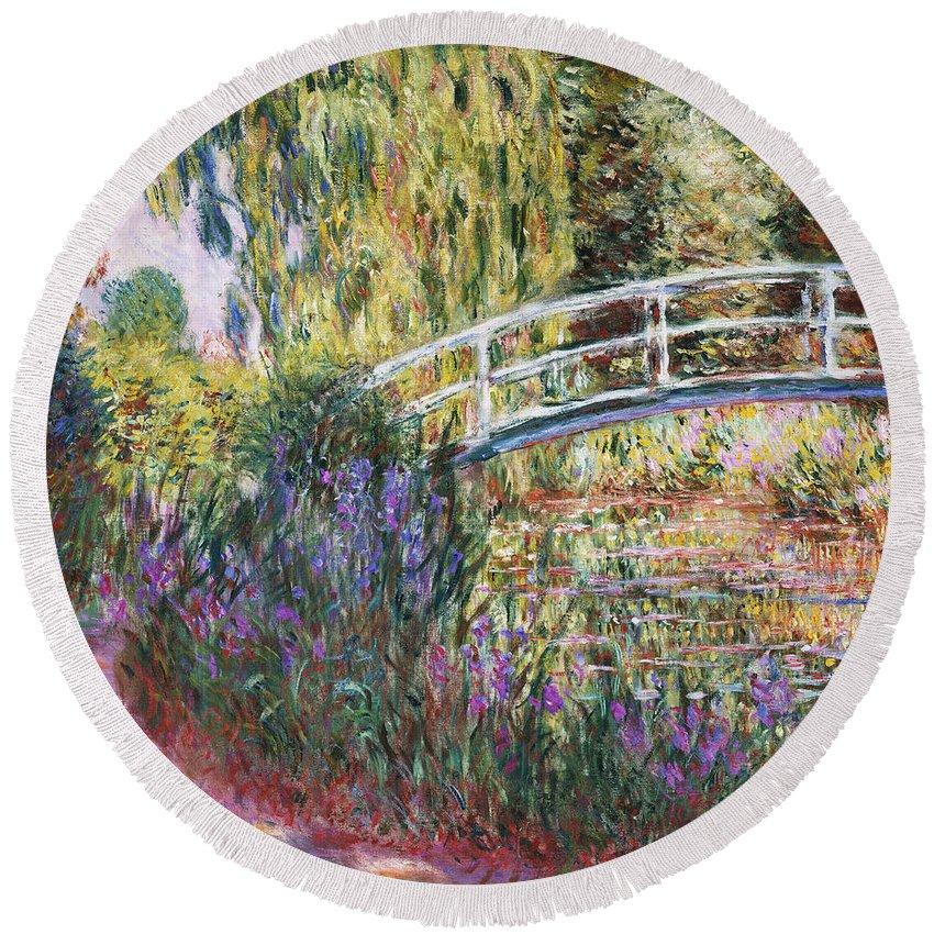 The Japanese Bridge Round Beach Towel featuring the painting The Japanese Bridge by Claude Monet