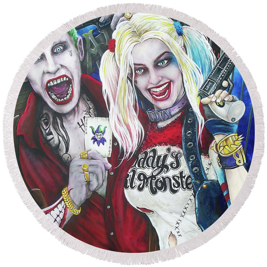 The Joker Round Beach Towel featuring the painting The Joker And Harley Quinn by Michael Vanderhoof
