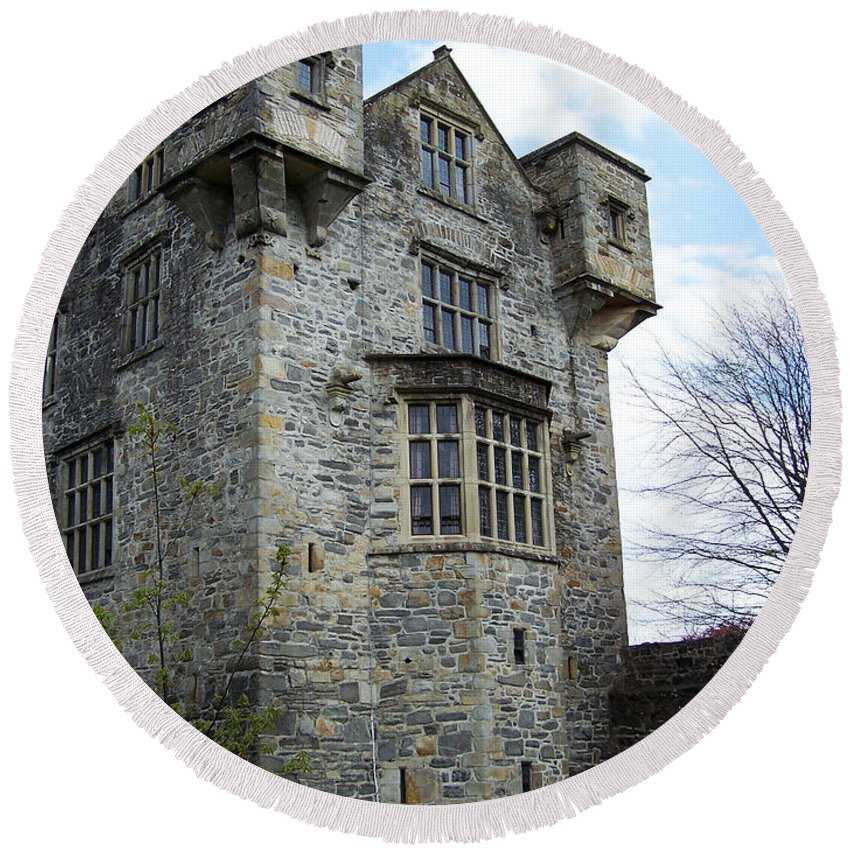 Ireland Round Beach Towel featuring the photograph The Keep At Donegal Castle Ireland by Teresa Mucha