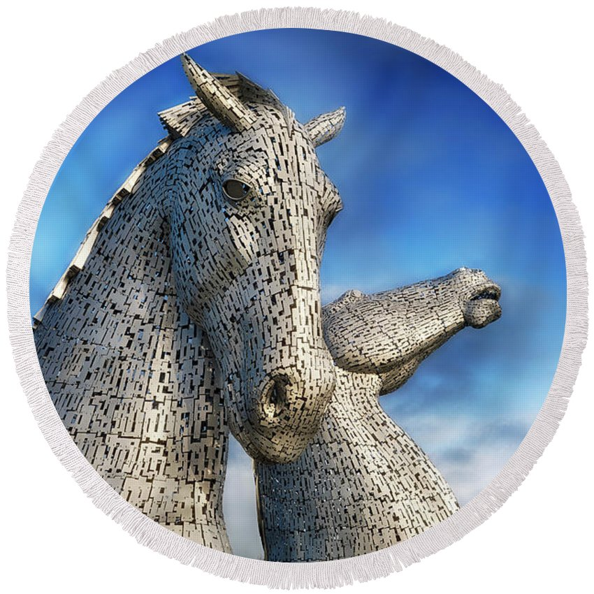 Landscape Round Beach Towel featuring the photograph The Kelpies No.3 by Phill Thornton