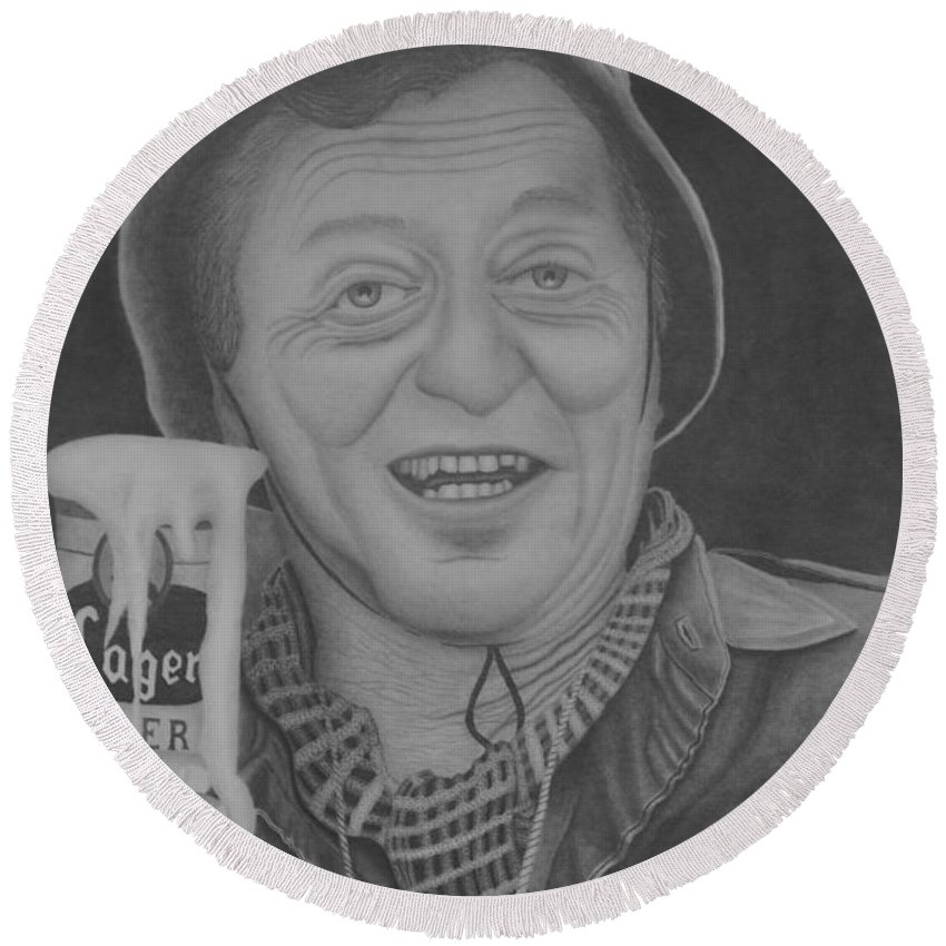 Portrait Round Beach Towel featuring the drawing The King by Brian Leverton