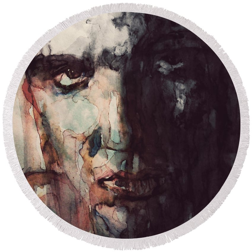 Elvis Round Beach Towel featuring the painting The King by Paul Lovering