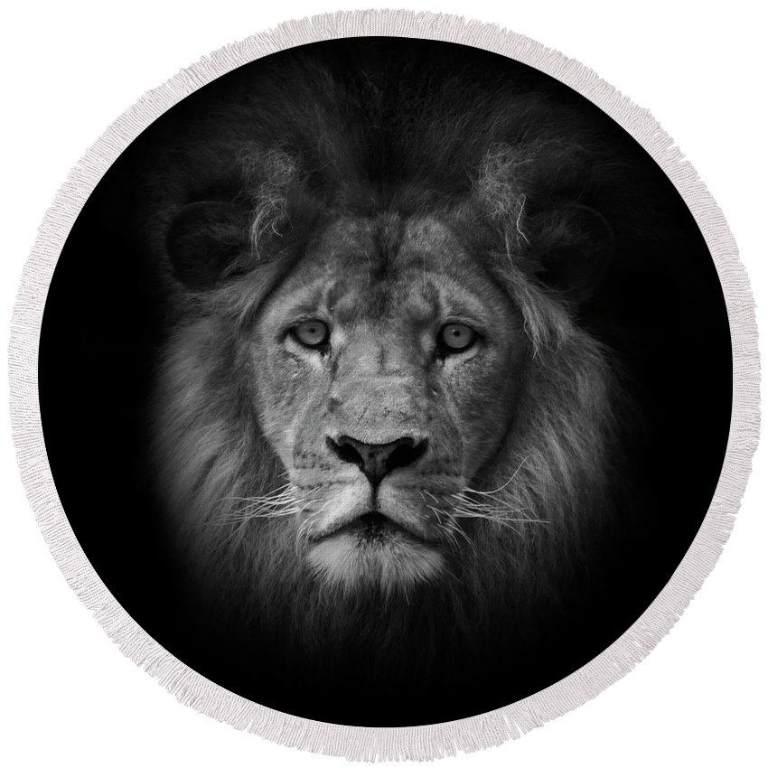 Black & White Round Beach Towel featuring the photograph The King by Photopoint Art