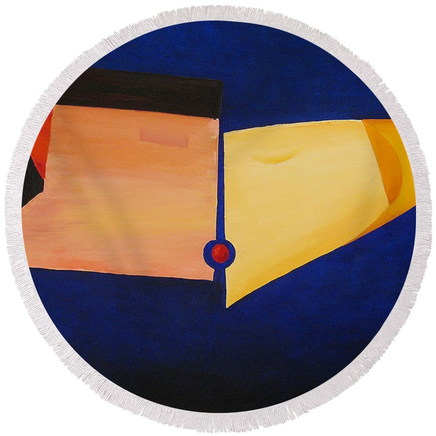 Abstract Round Beach Towel featuring the painting The Kiss by Anri Laran