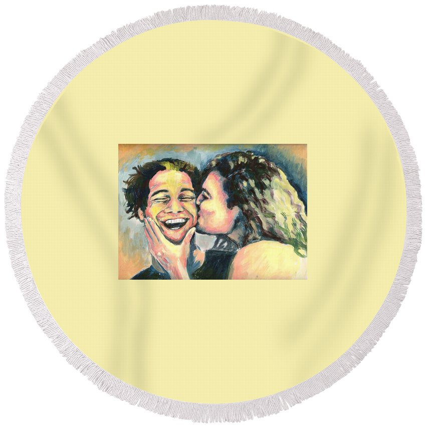 Man Round Beach Towel featuring the painting The Kiss by Nicole Zeug