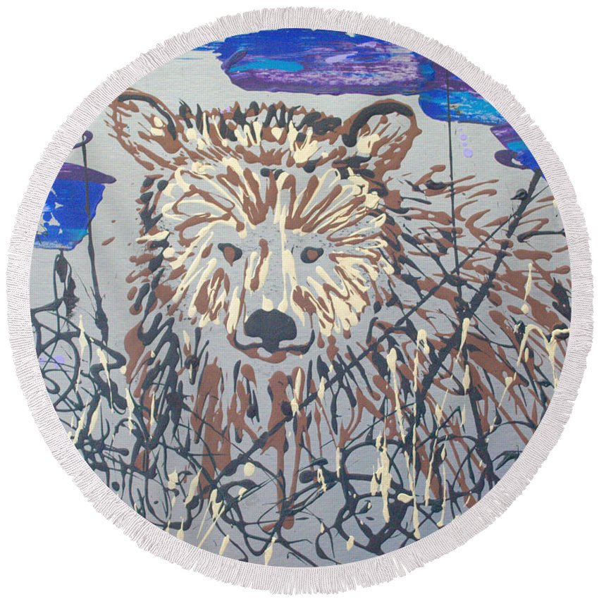 Abstract/impressionist Painting Round Beach Towel featuring the painting The Kodiak by J R Seymour