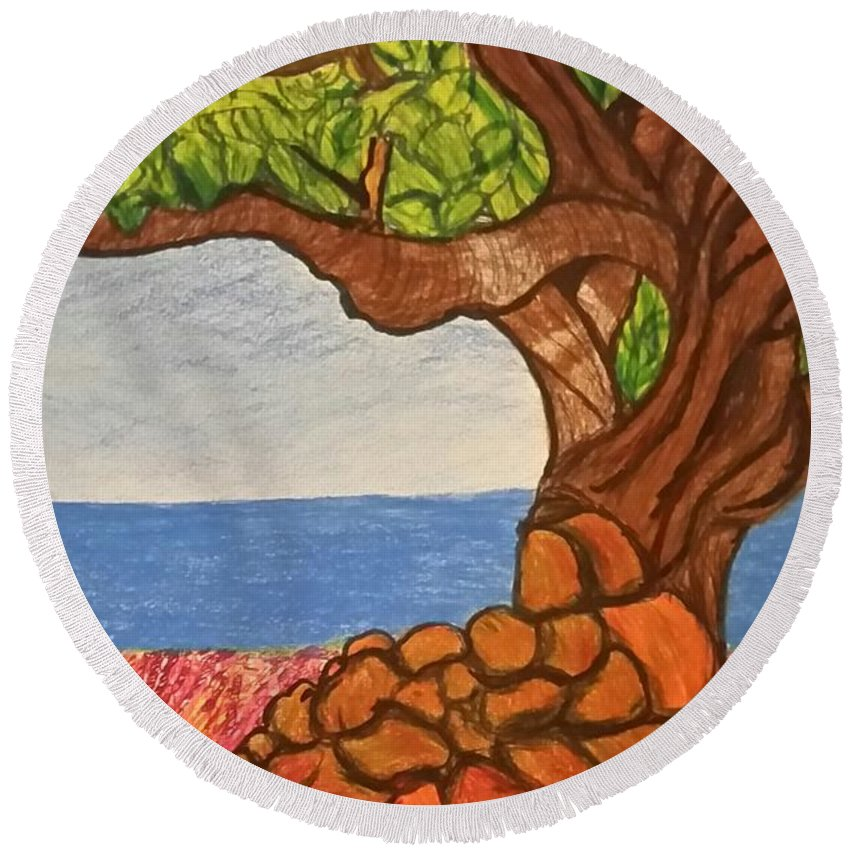 Prints Round Beach Towel featuring the drawing The Labor Day Hamptons Tree by Ishy Christine MudiArt Gallery