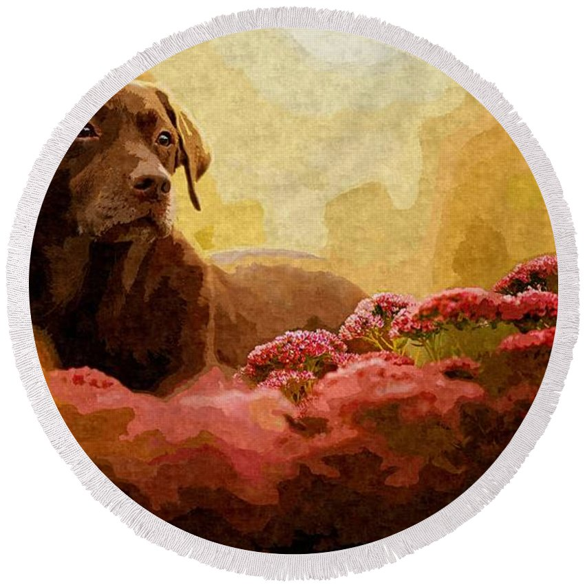 Dog Round Beach Towel featuring the painting The Labrador by MJ Arts Collection