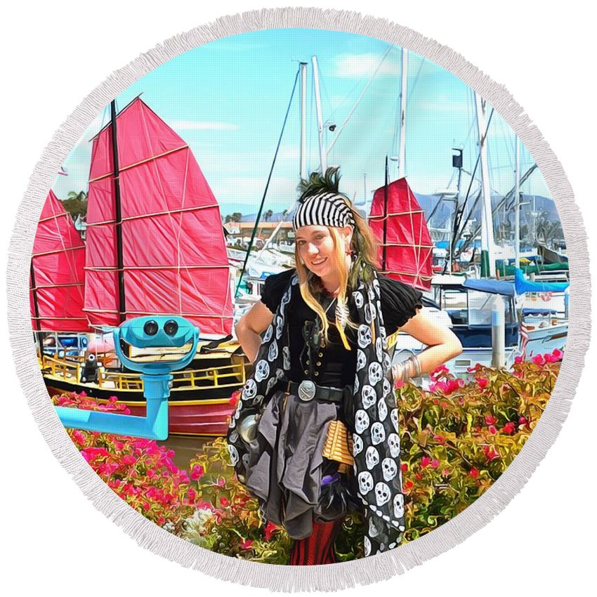 The Lady Pirate Round Beach Towel featuring the photograph The Lady Pirate by The Lady Pirate