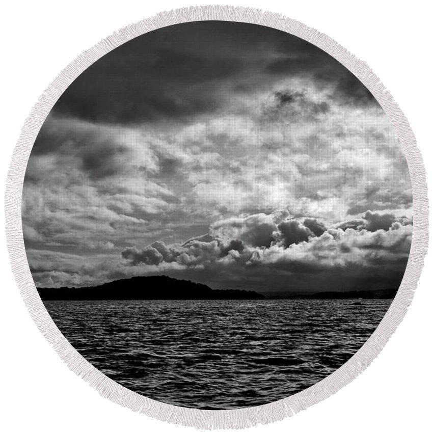 Nature Round Beach Towel featuring the photograph The Lake by John K Sampson