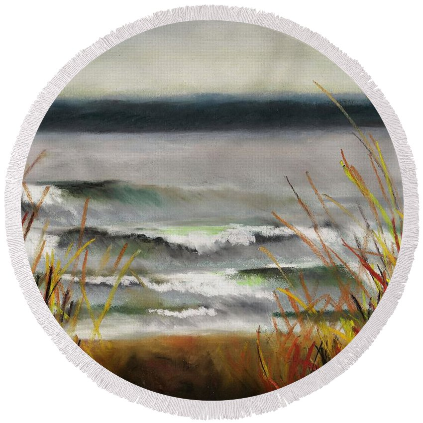 Lakes Round Beach Towel featuring the painting The Lake Shore by Frances Marino
