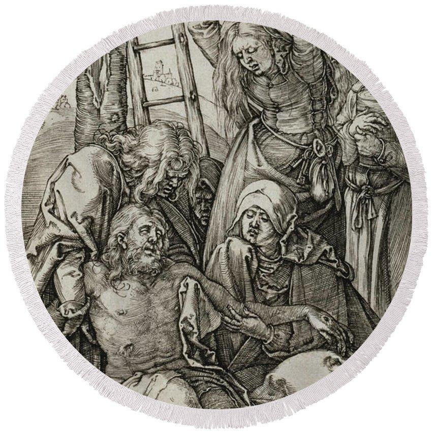 Albrecht Durer Round Beach Towel featuring the relief The Lamentation by Albrecht Durer