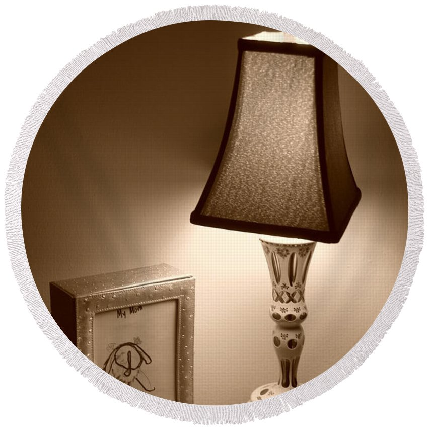 Lights Round Beach Towel featuring the photograph The Lamp by Rob Hans