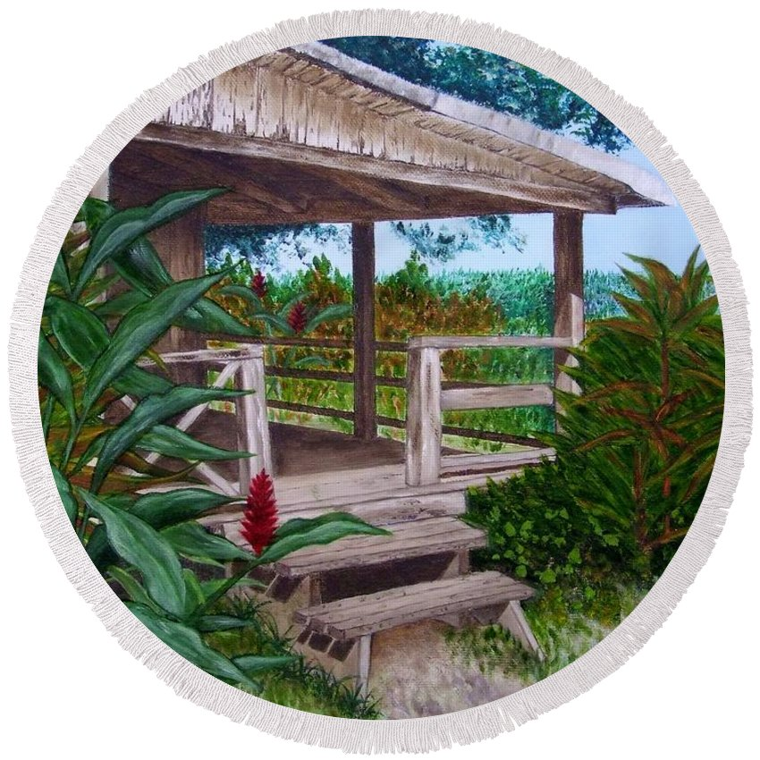 House Round Beach Towel featuring the painting The Lanai by Mary Deal