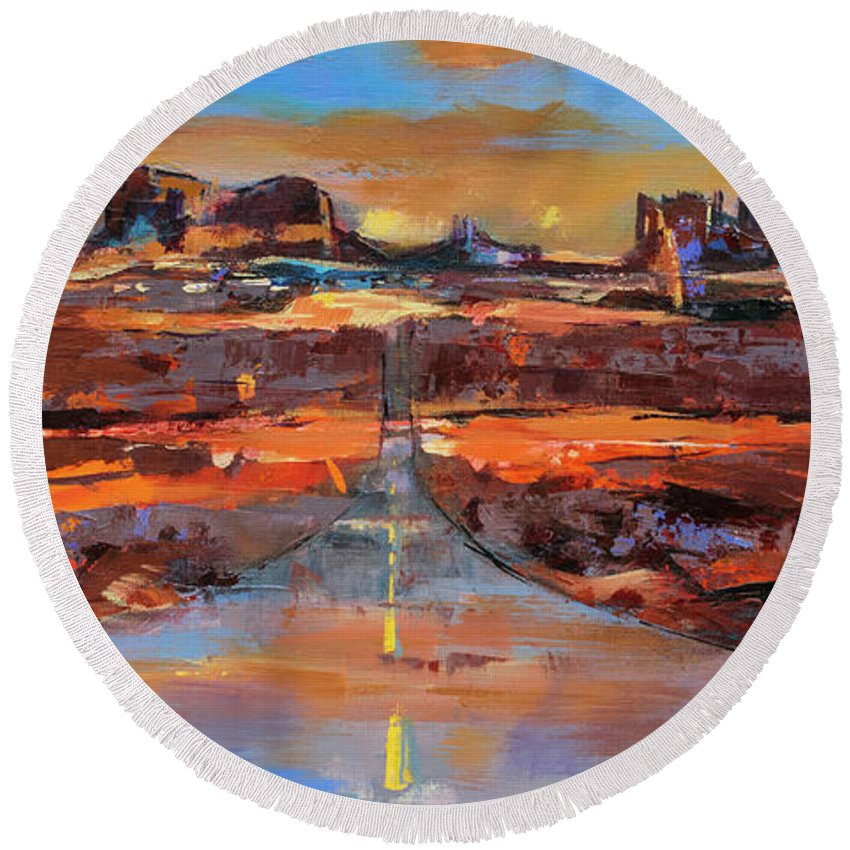 Monument Valley Round Beach Towel featuring the painting The Land Of Rock Towers by Elise Palmigiani