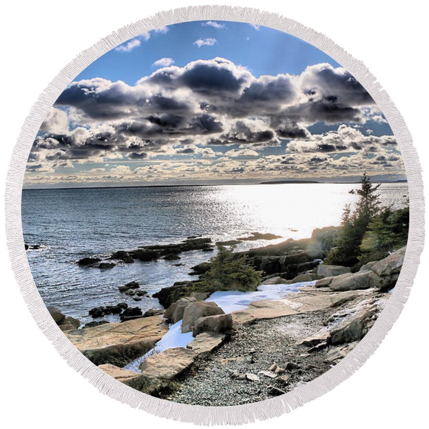Acadia National Park Round Beach Towel featuring the photograph The Land That I Love by Elizabeth Dow