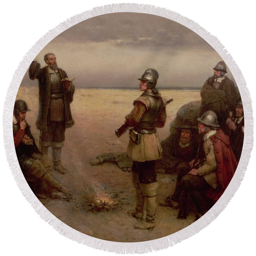 Helmet; Breast Plate; Roundhead; Round; Head; New; World; Founding; Pilgrims; Settlers; United States; Plymouth; Arrival; America; American Beach; Beach; Coast; Coastal Round Beach Towel featuring the painting The Landing Of The Pilgrim Fathers by George Henry Boughton