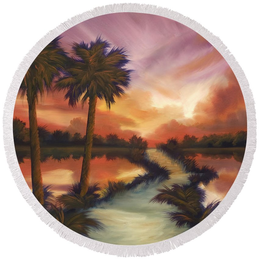 Skyscape Round Beach Towel featuring the painting The Lane Ahead by James Christopher Hill