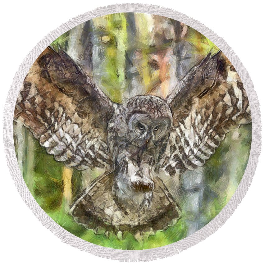Owl Round Beach Towel featuring the painting The Largest Owl by Leonardo Digenio