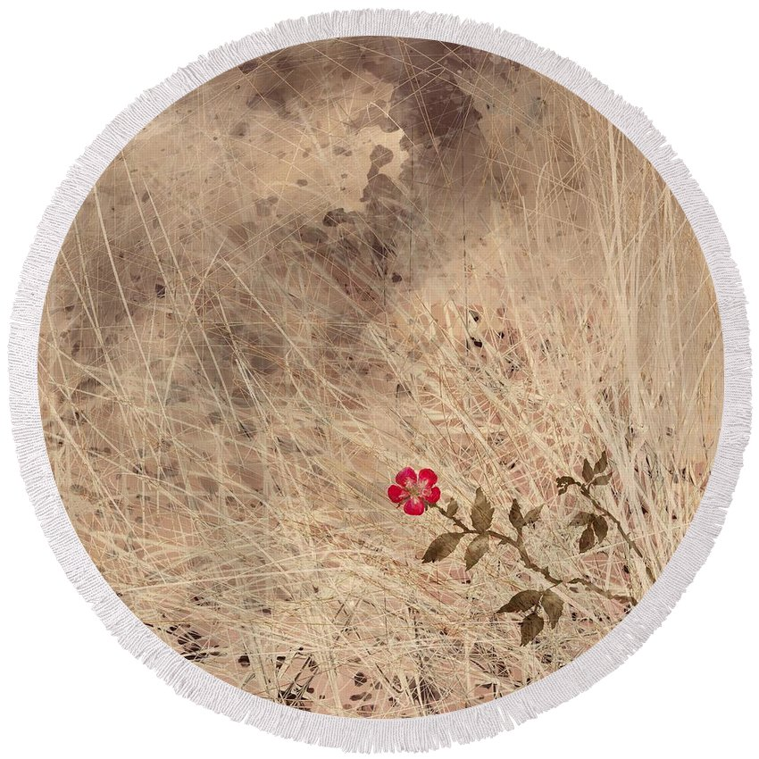 Abstract Round Beach Towel featuring the digital art The Last Blossom by William Russell Nowicki