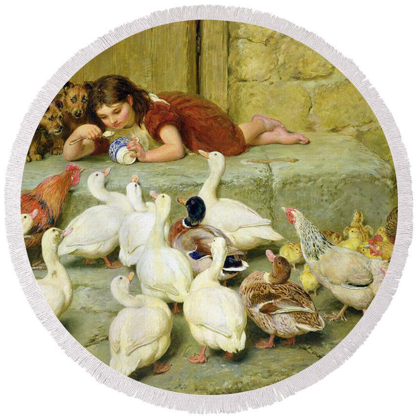 The Round Beach Towel featuring the painting The Last Spoonful by Briton Riviere