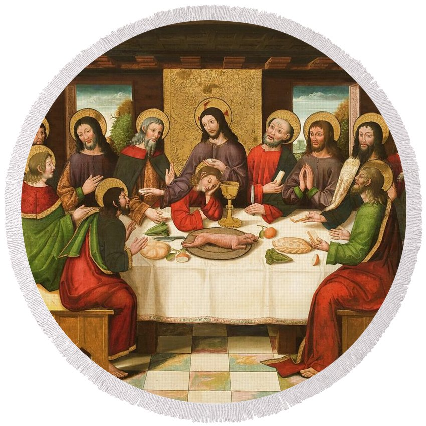 The Last Supper Round Beach Towel featuring the painting The Last Supper by Master of Portillo