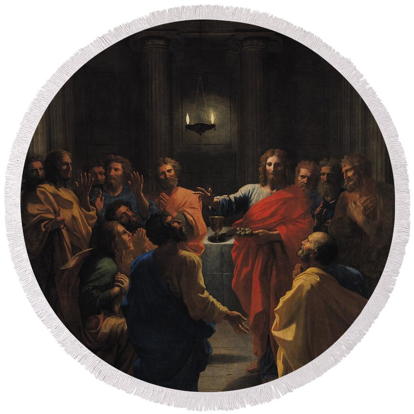 Christ Instituting The Eucharist Round Beach Towel featuring the painting The Last Supper by Nicolas Poussin