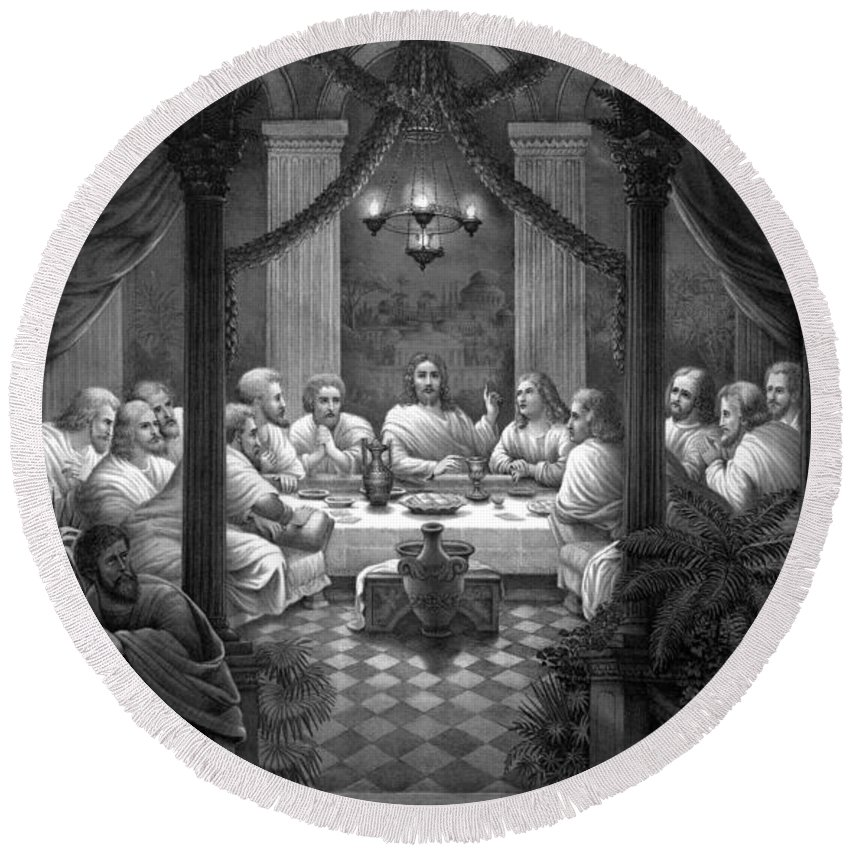 Jesus Round Beach Towel featuring the mixed media The Last Supper by War Is Hell Store