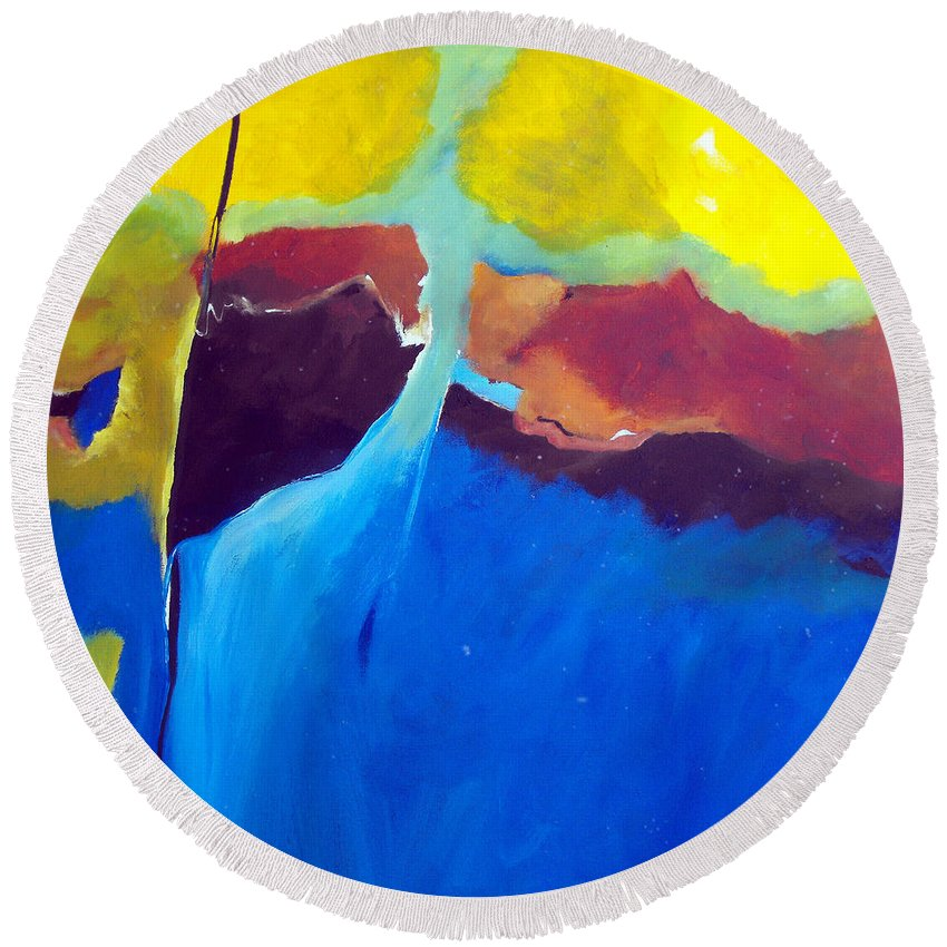 Abstract Round Beach Towel featuring the painting The Lay Of The Land by Ruth Palmer