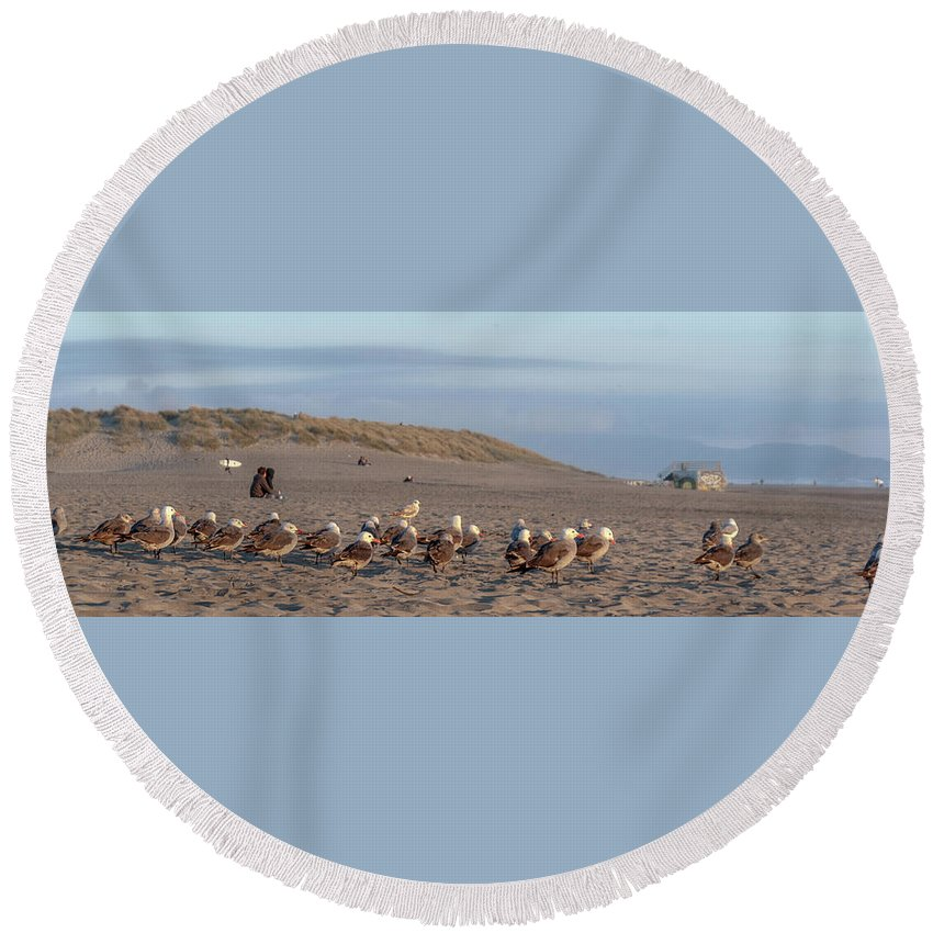 Vallejo Round Beach Towel featuring the photograph The Layover by Kristofer M Johnson