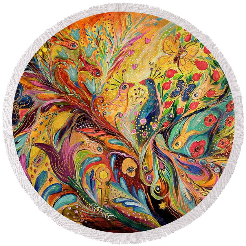 Original Round Beach Towel featuring the painting The Legends Of Yotvata by Elena Kotliarker