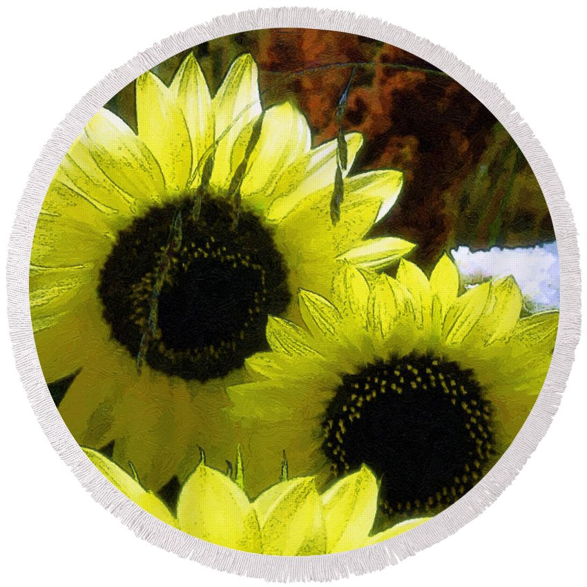 Sunflowers Round Beach Towel featuring the digital art The Lemon Sisters by RC DeWinter