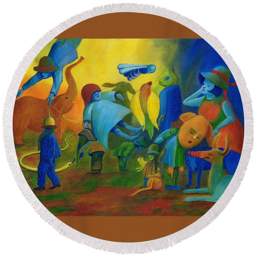 Surreal Round Beach Towel featuring the painting The Levitation. by Andrzej Pietal
