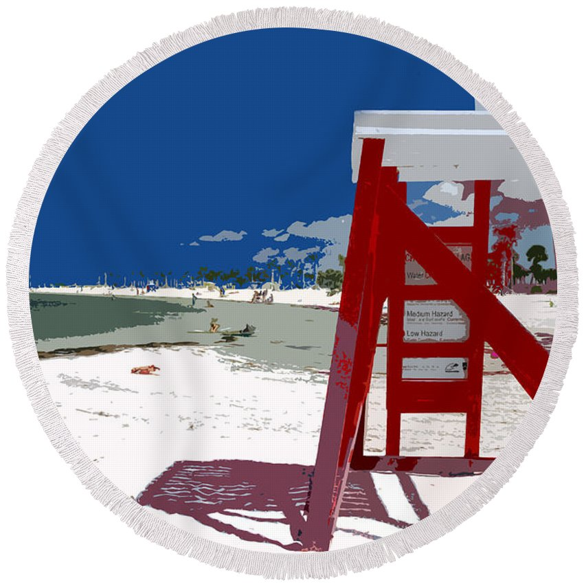 Lifeguard Stand Round Beach Towel featuring the painting The Lifeguard Stand by David Lee Thompson