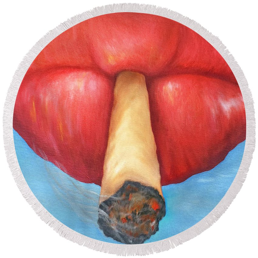 Lips Round Beach Towel featuring the painting The Lift by Candi Rose