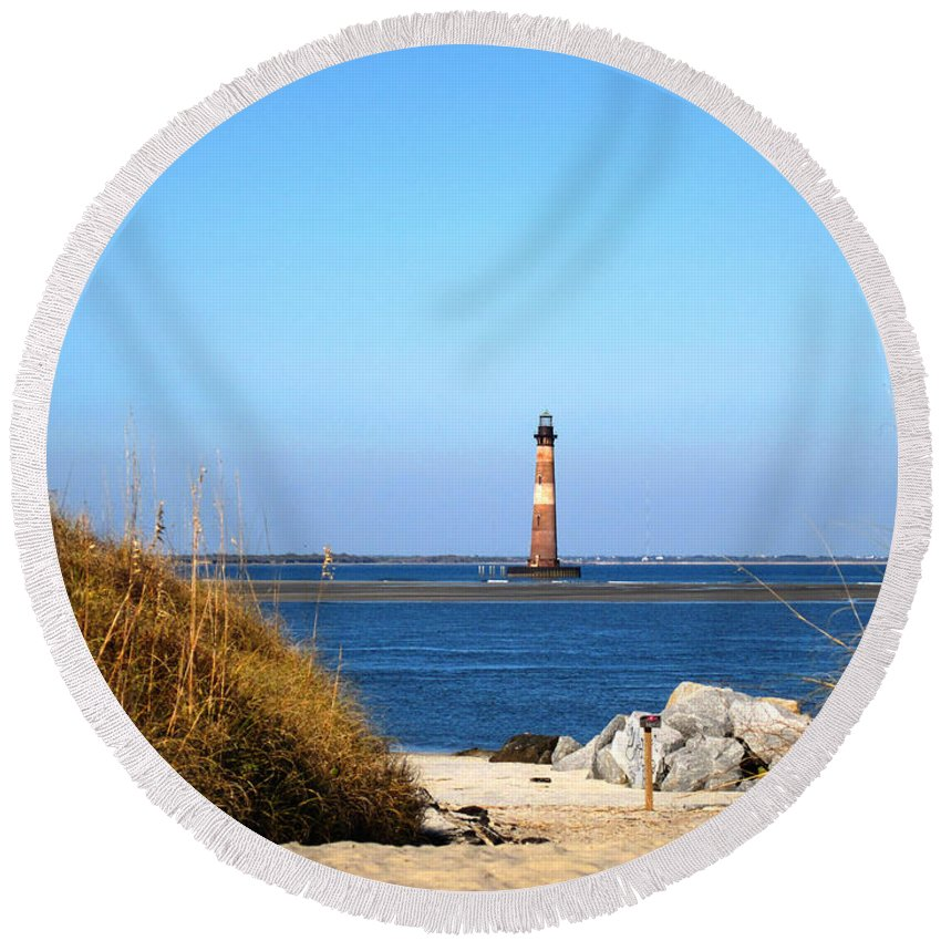Photography Round Beach Towel featuring the photograph The Lighhouse At Morris Island Charleston by Susanne Van Hulst