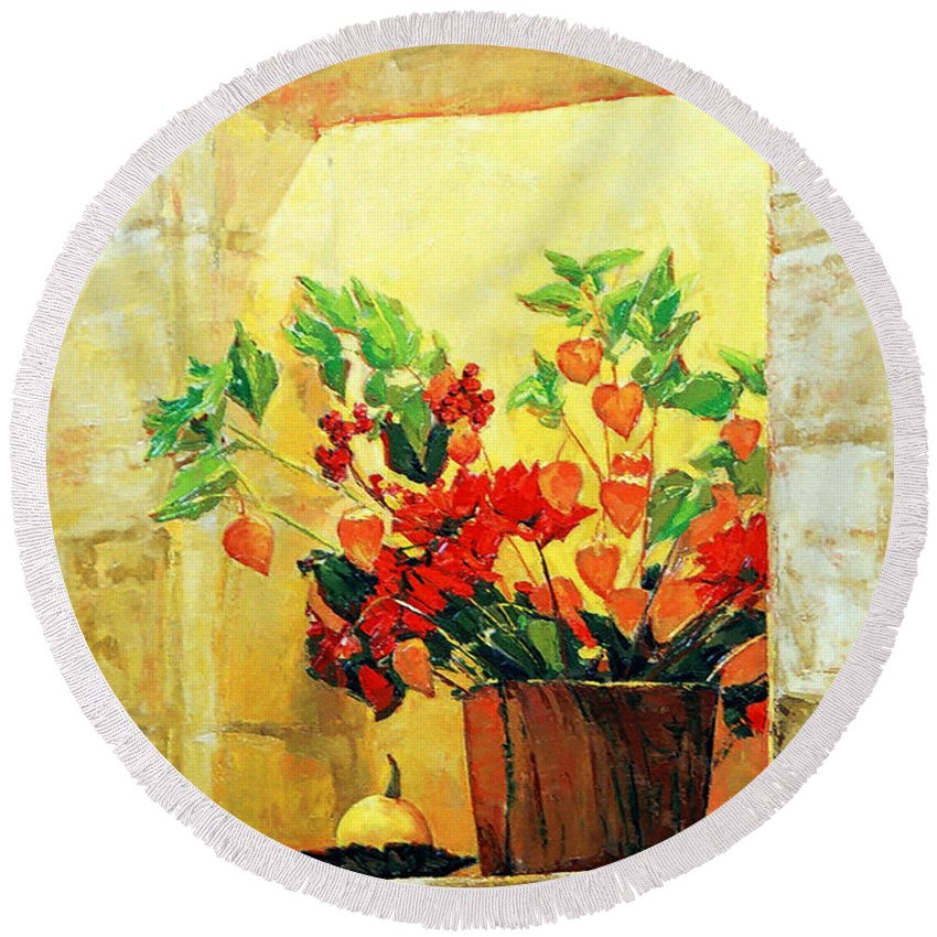 Still Life Round Beach Towel featuring the painting The Light by Iliyan Bozhanov