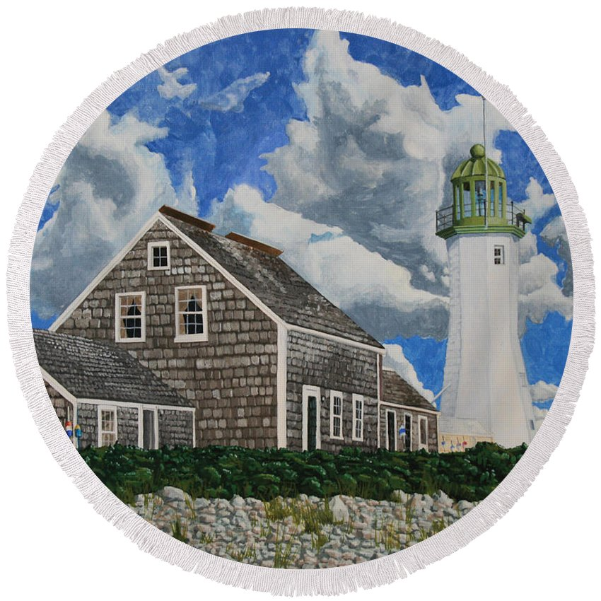 Lighthouse Round Beach Towel featuring the painting The Light Keeper's House by Dominic White