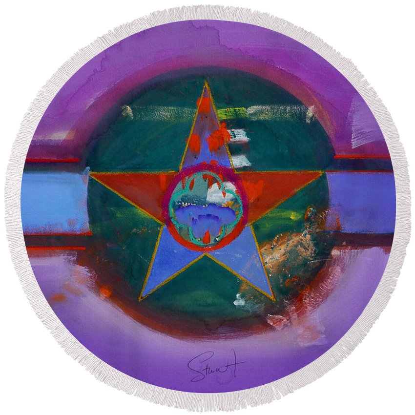 Star Round Beach Towel featuring the painting The Lighthouse Keeper by Charles Stuart