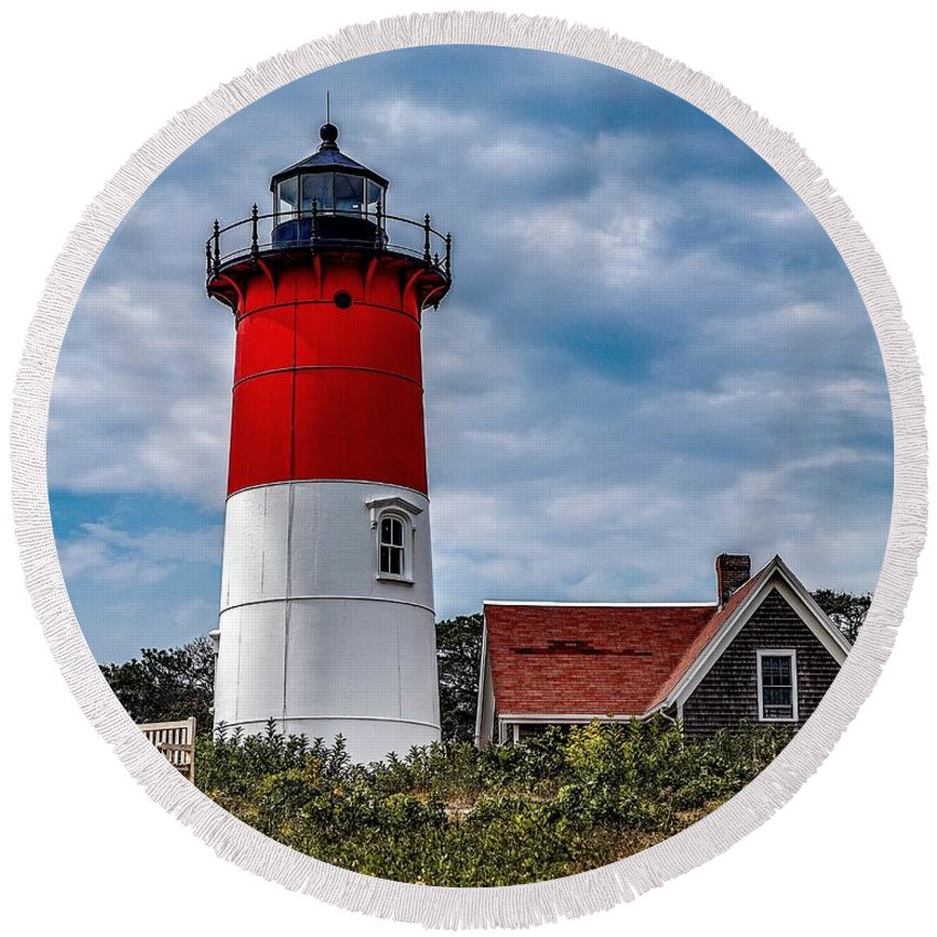 Round Beach Towel featuring the photograph The Lighthouse by Kendall McKernon