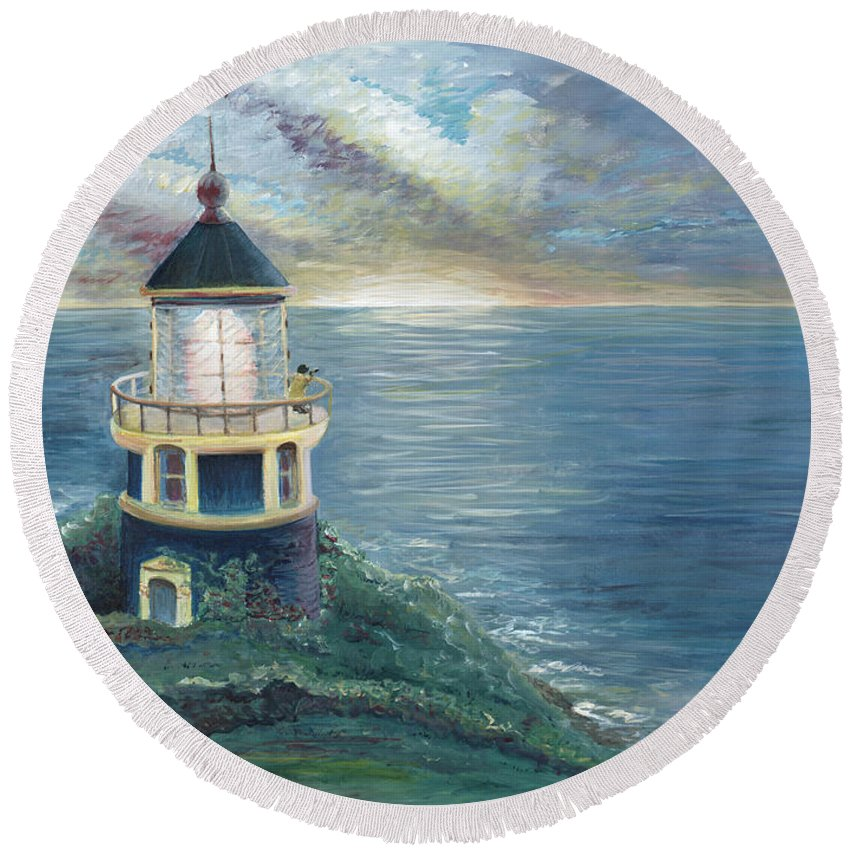 Lighthouse Round Beach Towel featuring the painting The Lighthouse by Nadine Rippelmeyer