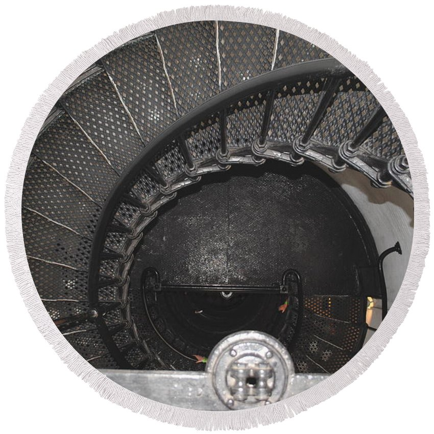 Lighthouse Round Beach Towel featuring the photograph The Lighthouse Stairs by Jost Houk