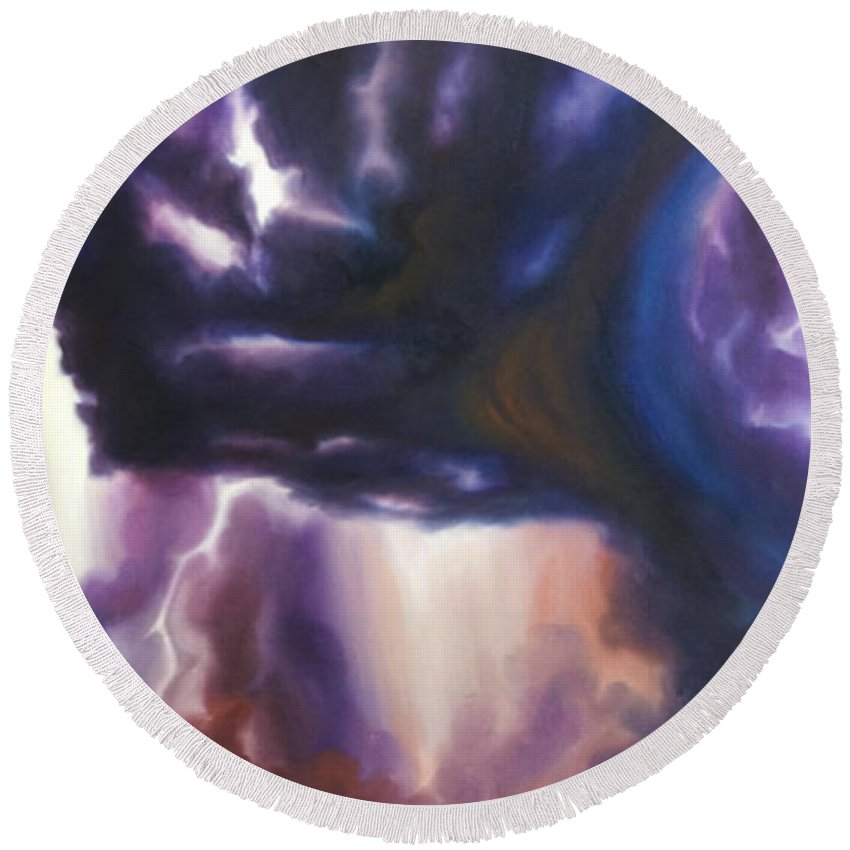 Tempest Round Beach Towel featuring the painting The Lightning by James Christopher Hill
