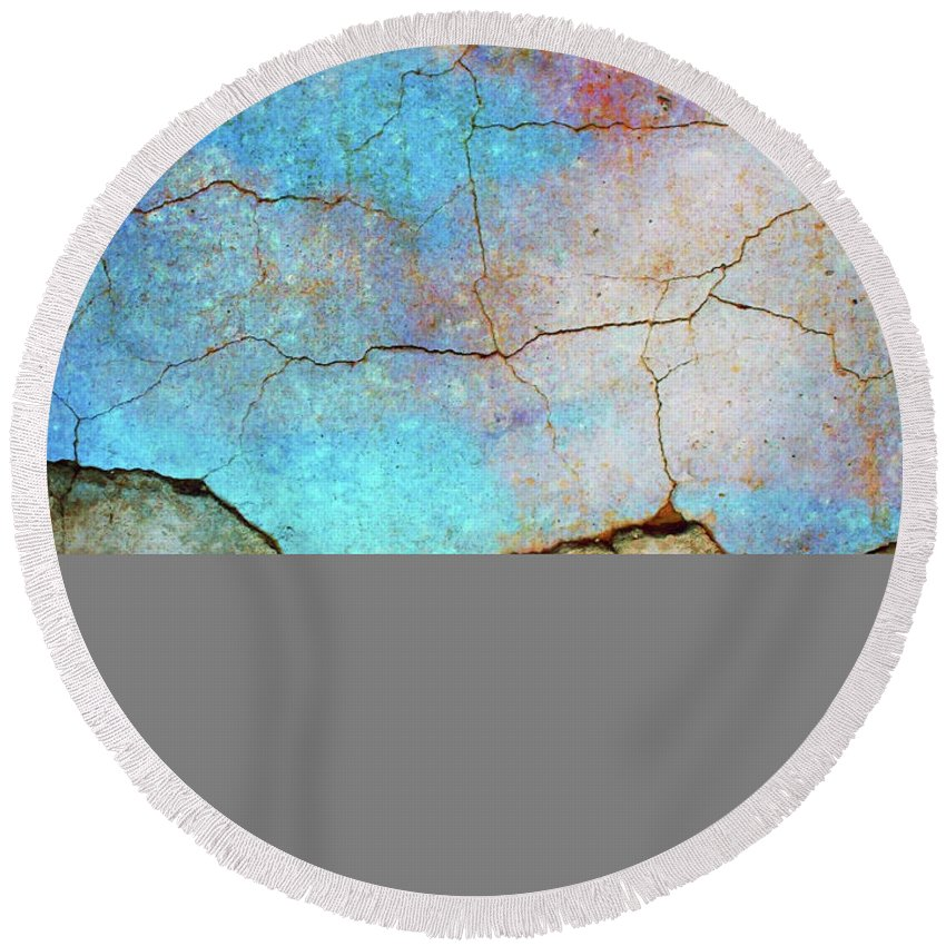 Abstract Round Beach Towel featuring the photograph The Lightning Storm by Tara Turner