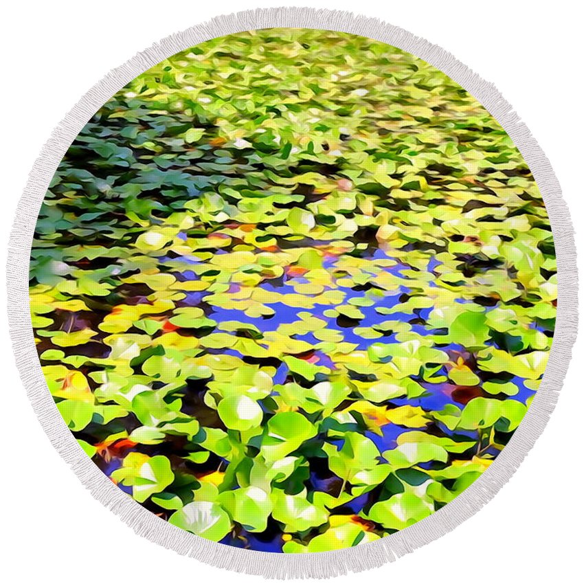 Digital Round Beach Towel featuring the photograph The Lily Pond #2 by Ed Weidman
